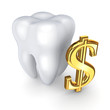Tooth and symbol of dollar.