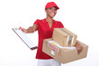 Young courier delivering parcels