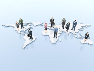 Geschäftsleute auf der Weltkarte - internationales Business
