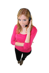 Girl with headphones and microphone