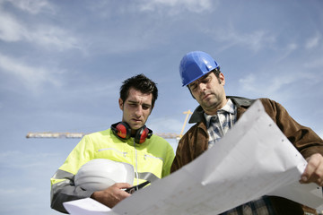 Foreman and colleague at construction site