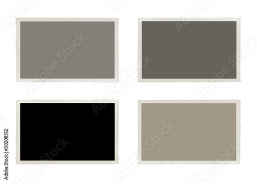Set of old, blank picture isolated on white background