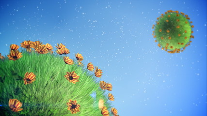 Small Planet. Summer Background.