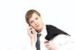 Azubi telefoniert mit Smartphone
