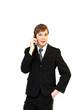 Angestellter telefoniert mit Smartphone