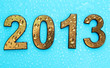 2013 in golden numbers, on blue background
