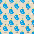 Seamless Pattern Blue Birthday Birds Symbols Beige