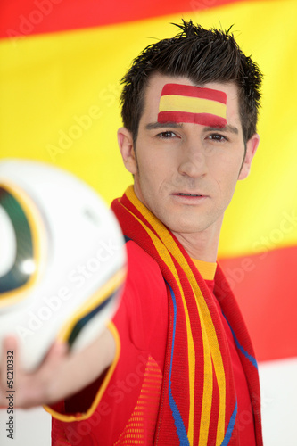 Passionate Spanish soccer fan