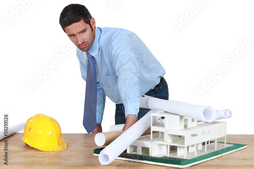Architect getting ready to present his new model