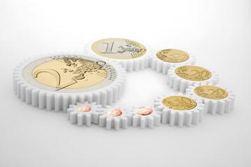 Engrenage de pièce en Euro - concept d'argent