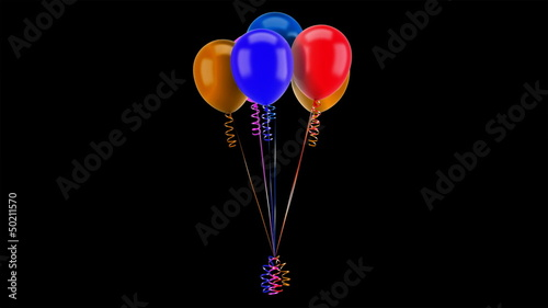 party balloons with ribbons loop rotate on black background
