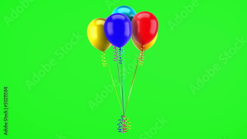 party balloons with ribbons loop rotate on green chromakey