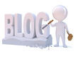 """Little man carves the word """"BLOG"""" in stone"""