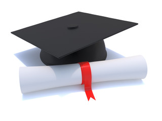 3d Graduation cap and scroll