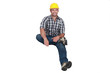 A construction worker levitating.