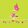 Flying Pink Bird 10 Cupcakes Festoons Green Dots