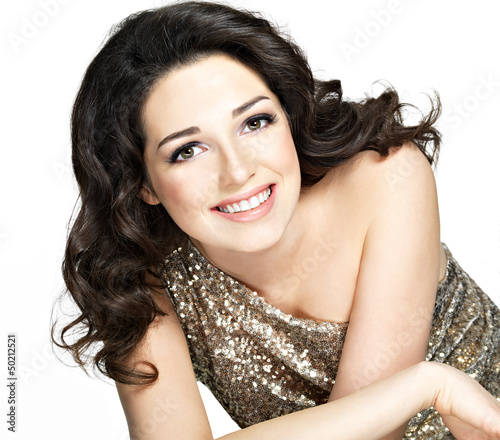 Beautiful happy smiling woman with brown  hairs