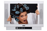 girl in TV screen with hair curlers