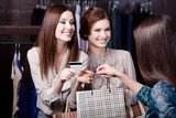 Pretty girlfriends pay with credit card