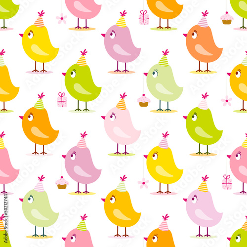 Seamless Pattern Birthday Birds Symbols Yellow/Orange/Green