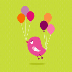Pink Bird Broken Wing Speech Bubble Green Dots