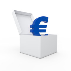 Euro in a box 3d render
