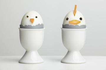 Boiled egg chickens in egg cups