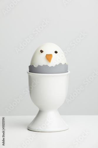 Boiled egg chicken in egg cup
