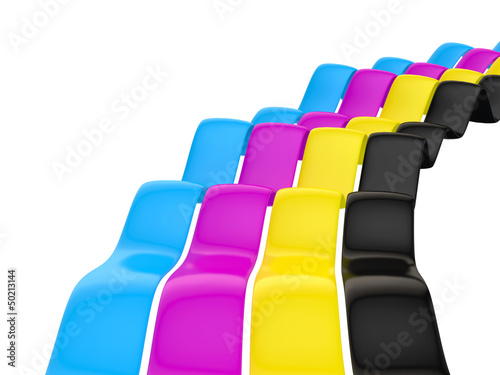 Cmyk concept 3d render illustration