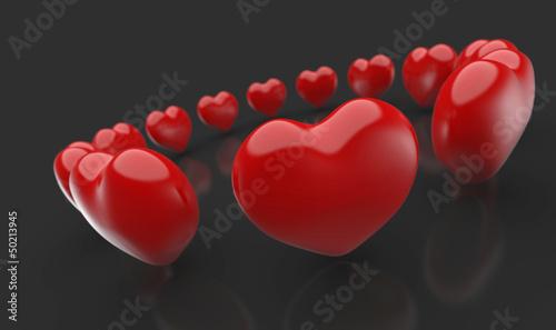 Rote 3D Herzen im Kreis Schwarz Rot 1