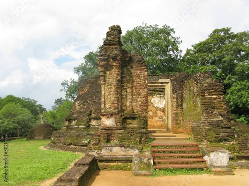 The remains of the pothgul vihara in Polonnaruwa in Sri Lanka