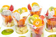 Healthy mix fruit  in glass for healthy juice on white backgroun