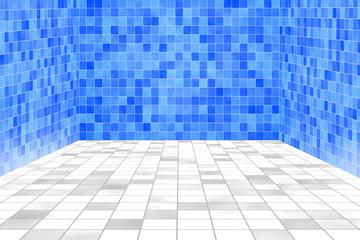 Gekachelter Raum, Swimmingpool blau, weiß