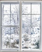 Winter Blick durch das Fenster