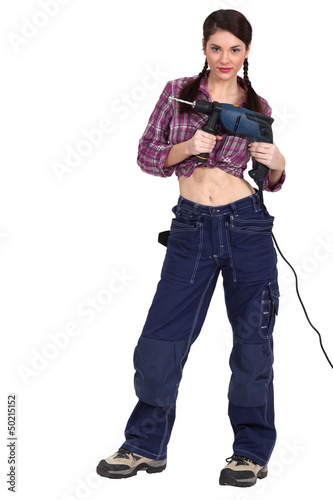 Woman with a powerdrill