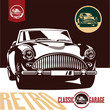 Classic car garage labels. Retro car vector.