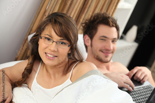 Couple waking up