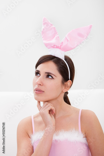 Young Woman Wearing Bunny Ears