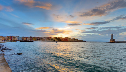 Sunset in the port of Chania