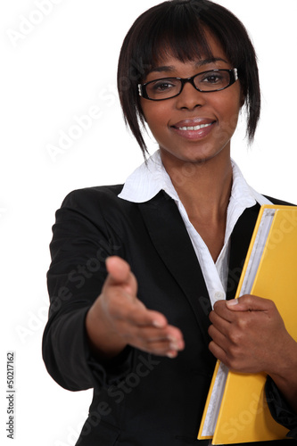 Working woman holding her hand out