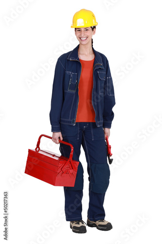 Woman stood with tool box