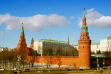 Moscow Kremlin panorama in winter sunny day.