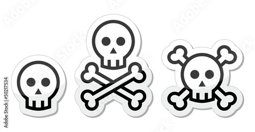 Cartoon skull with bones vector icons set
