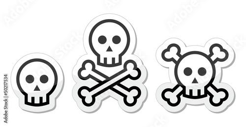 Cartoon skull with bones vector icons set