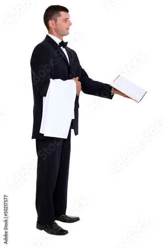 Waiter showing menu