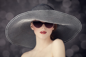 Fashion women in wide hat