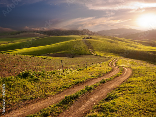 Rural Landscape At The Sunset