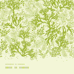 Vector green underwater seaweed horizontal seamless pattern