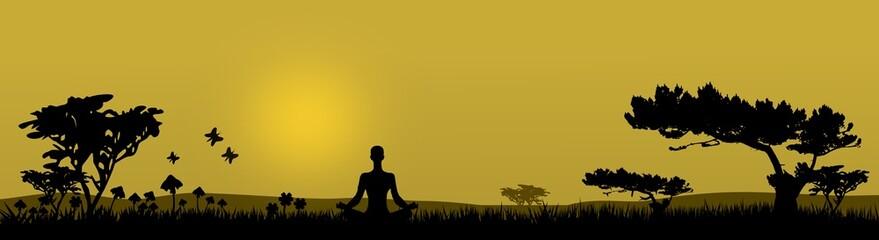 Meditation in der Natur - Silhouette