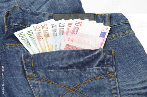 Euro in a jeans pocket